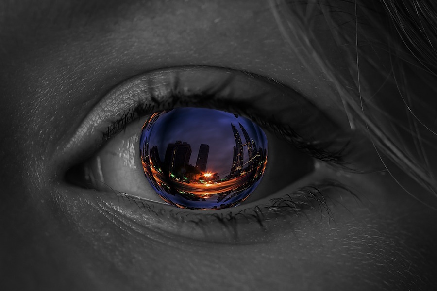 oeil; femme; reflet; ville