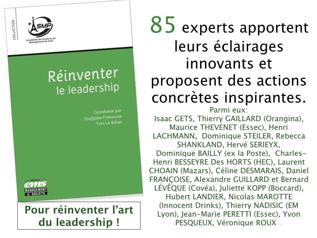 Sortie du livre «Réinventer le leadership» par 85 experts